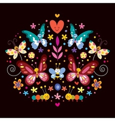 butterflies flowers nature vector image