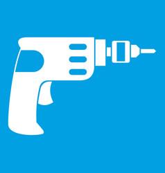 hand drill icon white vector image