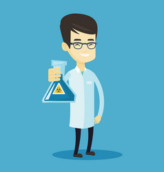 scientist holding flask with biohazard sign vector image vector image