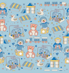 seamless pattern children vintage toys blue vector image