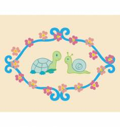 turtle and snail vector image vector image