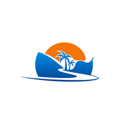 beach road palm tree logo vector image