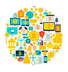 bitcoin icons circle vector image vector image
