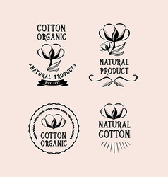 Cotton badges design organic product vector image