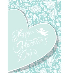 flowers blue card heart 380 vector image