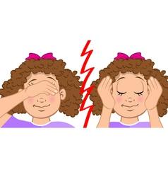 girl deaf blind vector image vector image