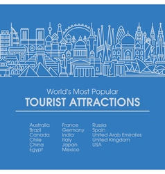 line worlds most popular tourist locations vector image