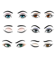 open and closed woman eyes vector image vector image