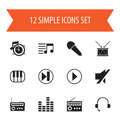 Set of 12 editable song icons includes symbols vector