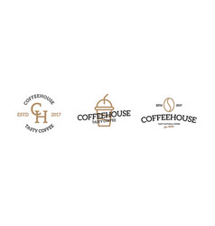 set of coffee logo emblem design on white vector image