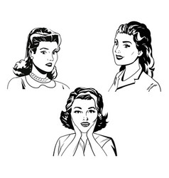 set woman portrait beauty black and white vector image