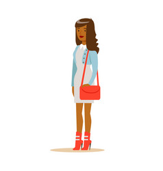 young african american woman in fashionable vector image