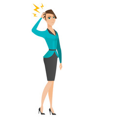 caucasian business woman with lightning over head vector image vector image