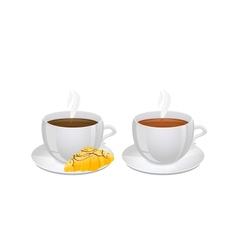 Cups of coffee and Tea with Croissant vector image