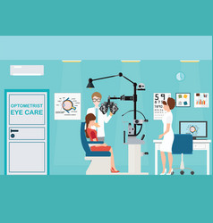 doctor and patient at ophthalmologist interior vector image vector image