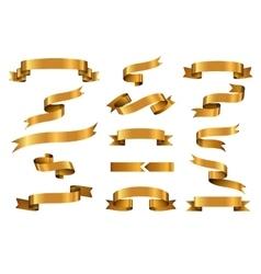 Gold glossy ribbon banners set vector