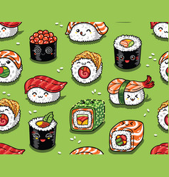 sushi and sashimi seamless pattern in kawaii style vector image