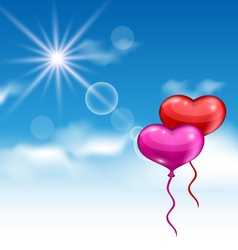 two glossy hearts balloons for Valentine Day vector image