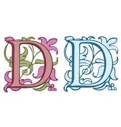 Vintage initials letter D vector image vector image