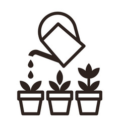 watering can and flowers in pots irrigation symbol vector image vector image