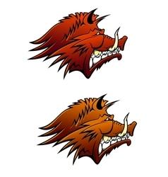 Wild boar mascot with big tusks vector image