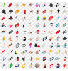 100 manners icons set isometric 3d style vector