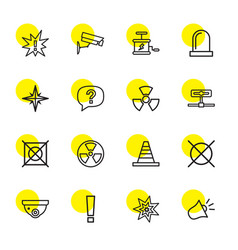 16 caution icons vector image