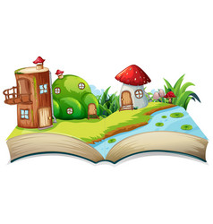 A fairyland opn open book vector