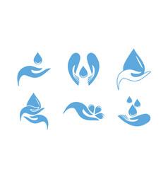 A set logos drops in your hands vector