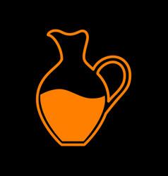 Amphora sign orange icon on black background old vector