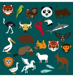 Animal and bird flat icons vector