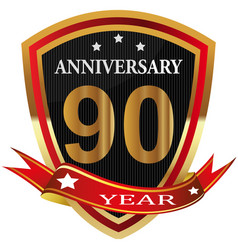 Anniversary 90 th label with ribbon vector