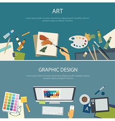 Art education and graphic design web banner vector