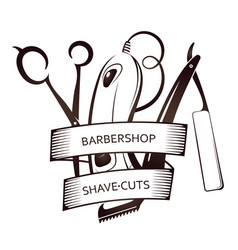 Barbershop tool set symbol vector
