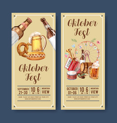 Beer sausage and musical flyer design element vector