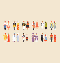 big set of national costumes part 3 vector image