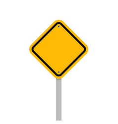 blank yellow roadsign isolated on white background vector image
