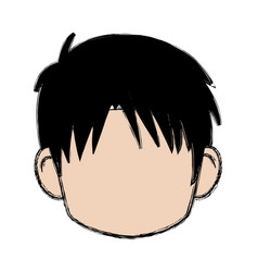 Blurred boy of faceless head of little kid anime vector