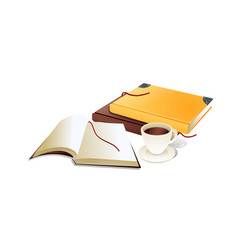 Book with ribbon bookmark and cup of coffe vector