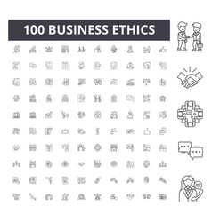 Business ethics line icons signs set vector