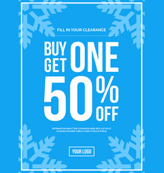 Buy one get one 50 off sign winter sale vector