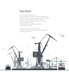 Cargo Sea Port Poster Brochure Design vector image
