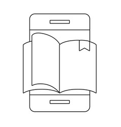 cellphone with book vector image
