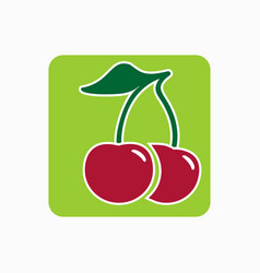 Cherry icon simple flat fresh cherry sign vector
