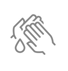 Cleaning hands with disinfectant drop line icon vector