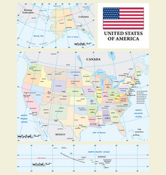 Colored administrative map usa vector