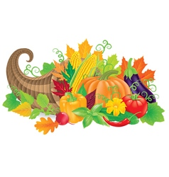 Cornucopia with harvest vector