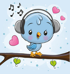 Cute bird with headphones on a branch vector