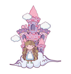 cute little fairy with castle in the clouds vector image
