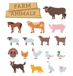 domestic farm animals flat icons vector image